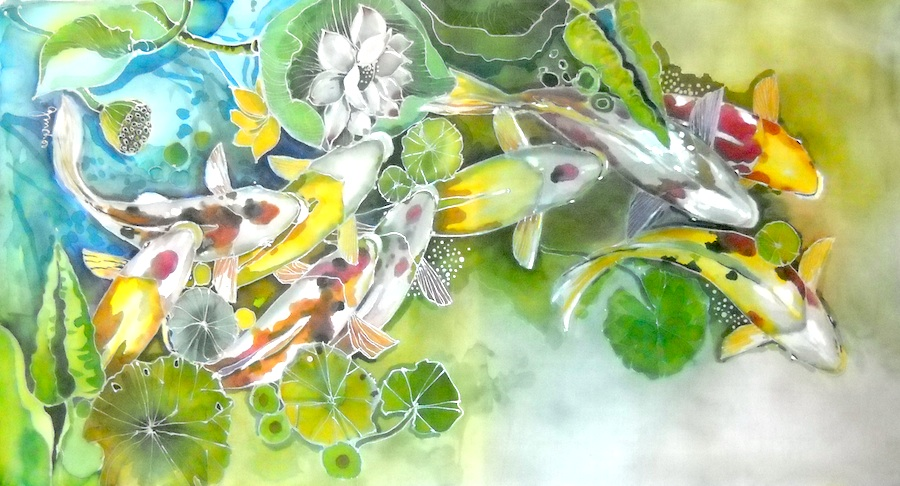 Batik paintings malacca batik art for Koi fish pond design in malaysia